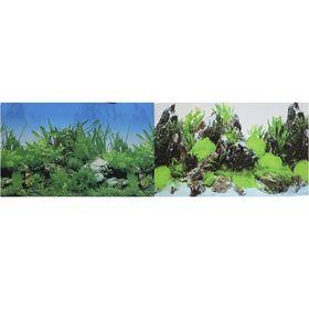 Фон для аквариума двухсторонний Растительный/Скалы с растениями 50х100см (9003/9028)