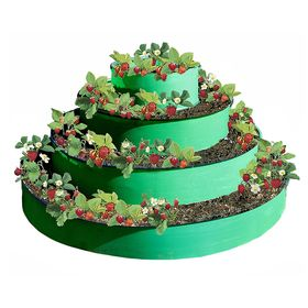 Грядка гибкая, 4 яруса, d = 50 - 90 - 130 - 170 см, h = 85 см, Эконом, зелёная