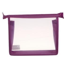 Папка пластиковая А5, молния сверху, прозрачная, «Офис», ПМ-А5-00, сиреневая