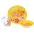 "Набор посуды ""Винкс Стелла"", 3 предмета: кружка 250 мл, тарелка 19,5 см, салатник 14 см"