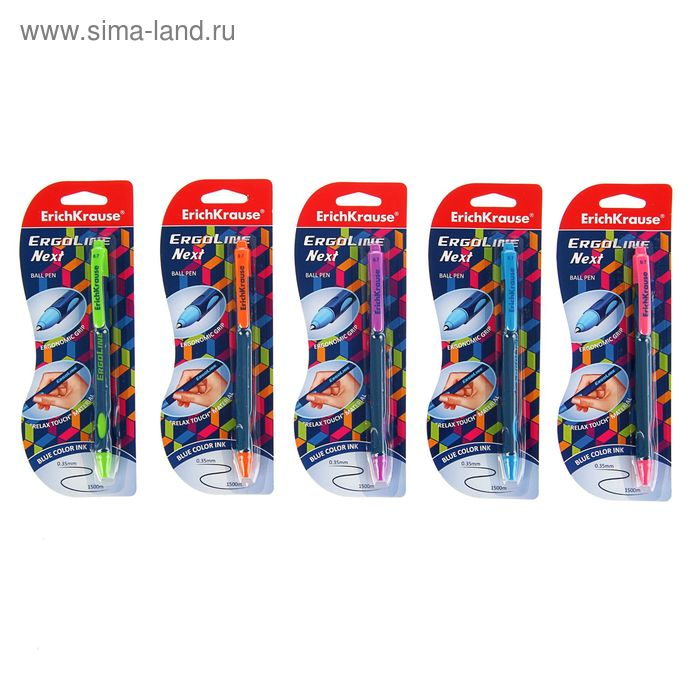 Ручка шариковая автоматическая Ultra Glide ErgoLine Next, эргономичный грип, чернила синие, узел 0.35мм, длина письма 1500м, блистер, EK 41544