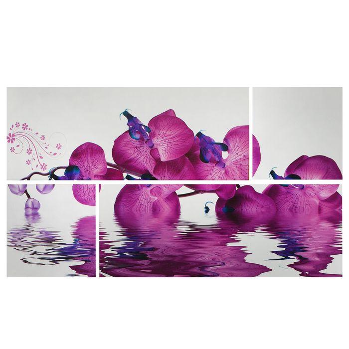 """Модульная картина на подрамнике """"Орхидея на воде"""", 2 шт. — 74×29 см, 2 шт. — 29×29 см, 60×105 см"""