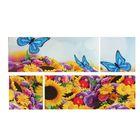 """Модульная картина на подрамнике """"Цветочная феерия"""", 2 шт. — 74×29 см, 2 шт. — 29×29 см, 60×105 см"""