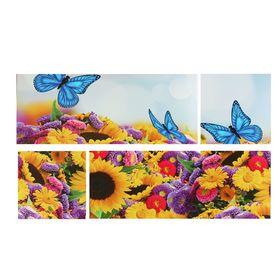 """Картина модульная на подрамнике """"Цветочная феерия"""" 2шт-74*29 см, 2 шт-29*29 см, 60*105 см"""