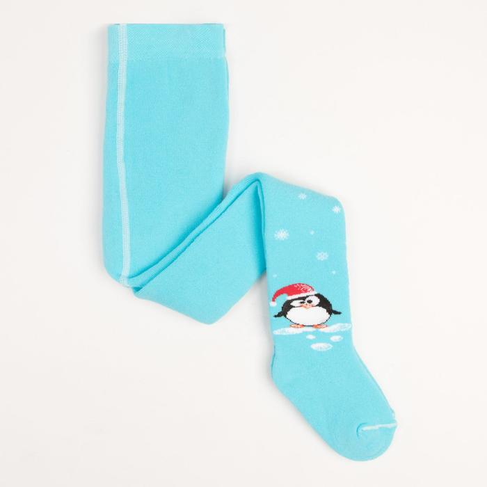 Колготки детские плюшевые ПФС70-2439, цвет светло-бирюзовый, рост 92-98 см