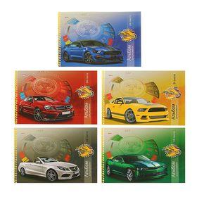 """Альбом для рисования А4, 24 листа на гребне """"Самые быстрые автомобили"""" блок офсет 100г/м2, МИКС"""
