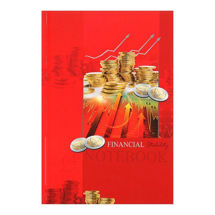 """Записная книжка А5, 64 листа """"Монеты на красном"""", твердая обложка, глянцевая ламинация"""
