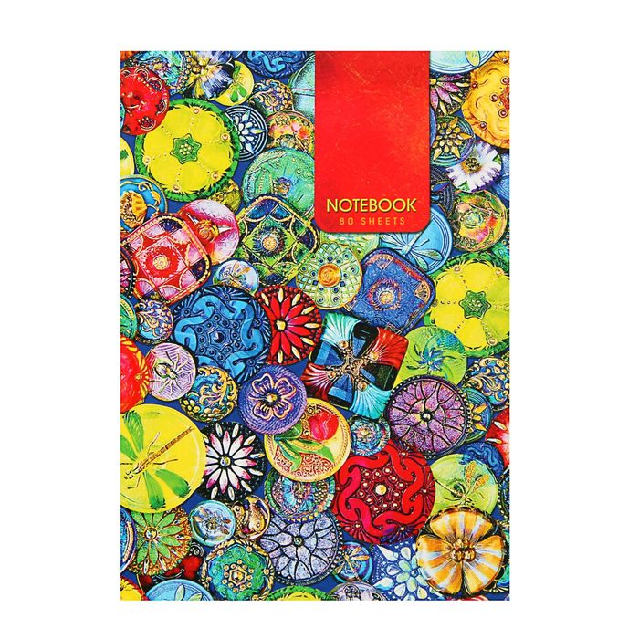 """Записная книжка А5, 80 листов """"Яркие украшения"""", твердая обложка, глянцевая ламинация"""