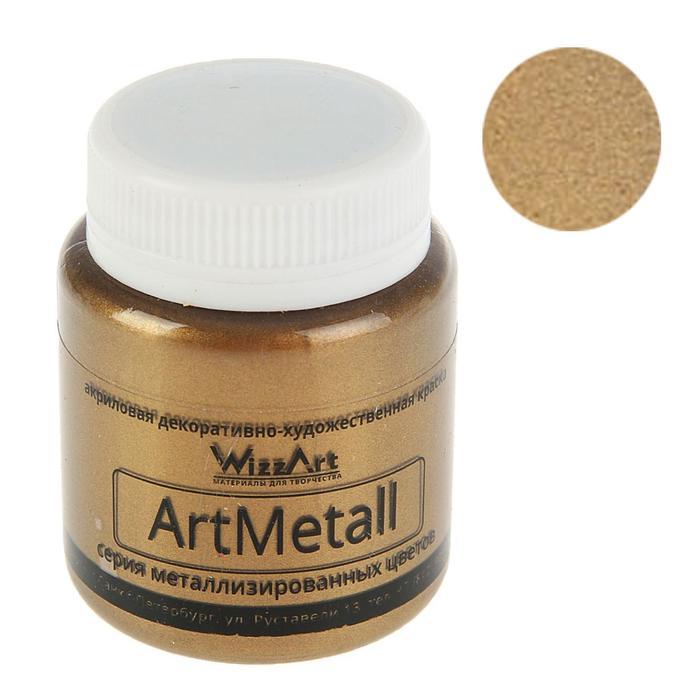Краска акриловая Metallic 80 мл WizzArt Золото коричнево-светлое металлик WM4.80