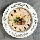 """Часы настенные круглые """"Серия Ретро. Три вазы с цветами"""", d=29 см, рама белая, узор золотистый"""