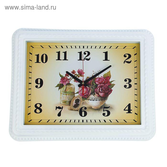 """Часы настенные прямоугольные """"Цветы и портрет"""", рама-косичка белая"""