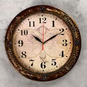 """Часы настенные, серия: Интерьер, """"Карта мира"""", d= 29 cм, коричневая рама"""