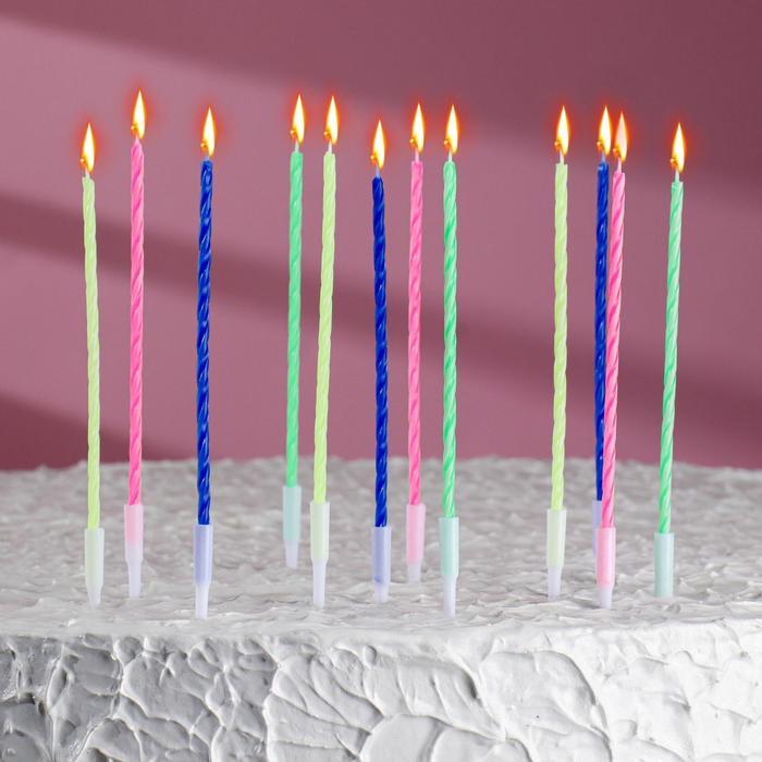 Свечи для торта  Коктейльные, с подставками, (набор 12 шт). - фото 186604901