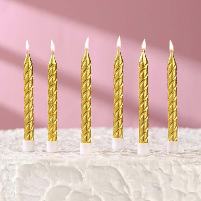 Свечи в торт Золотые средние с подставками, золотые, (набор 6шт) - фото 190573206