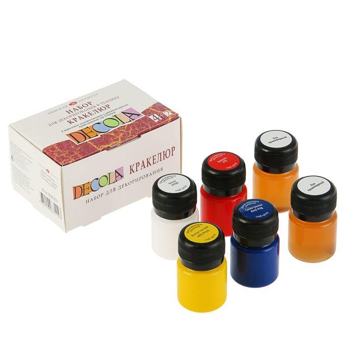 Набор для Кракелюра: краска глянцевая 4 цвета х 20 мл + лак 2шт. х 20 мл ЗХК Decola