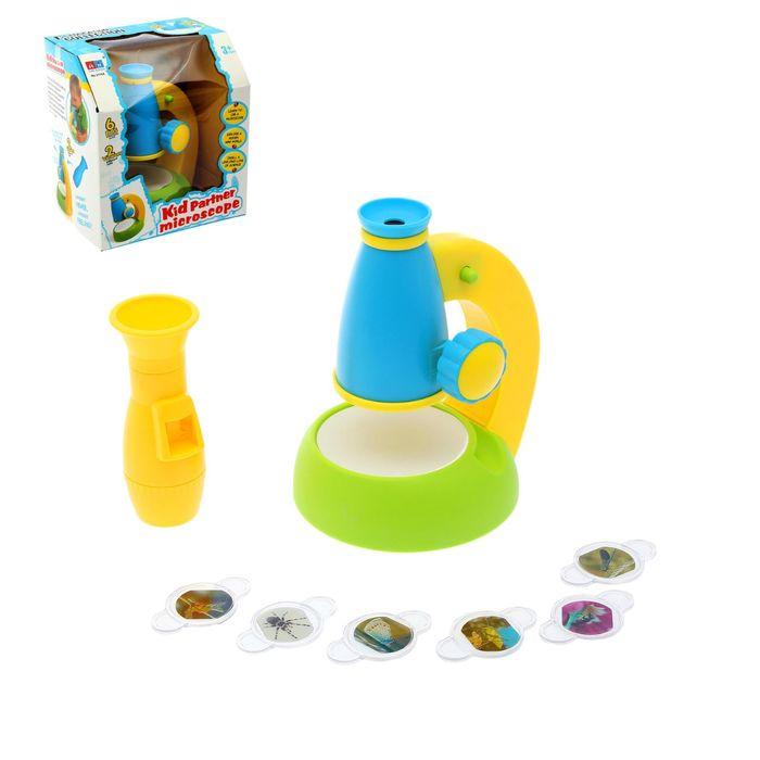 """Игрушка обучающая """"Микроскоп"""", 6 предметов, с 2 увеличительными лупами цвета:МИКС"""