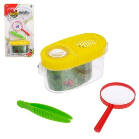 "Kit for study of ""Young biologist"": tweezers, magnifying glass, a jar for insects"