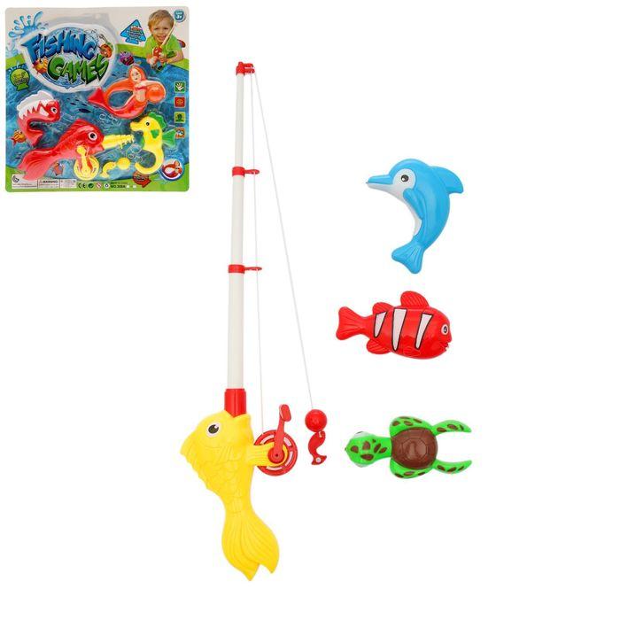 """Рыбалка на магните """"Улов-2"""", с большими фигурами и выдвижной удочкой , 4 предмета"""
