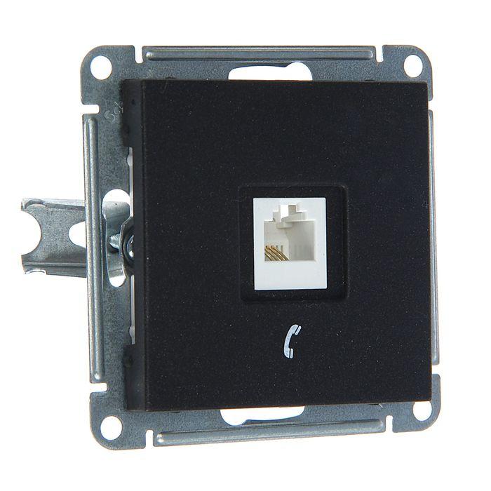 """Розетка  телефонная """"W59"""" SchE RSI-152T-6-86, RJ11, одноместная, скрытая, цвет черный бархат"""