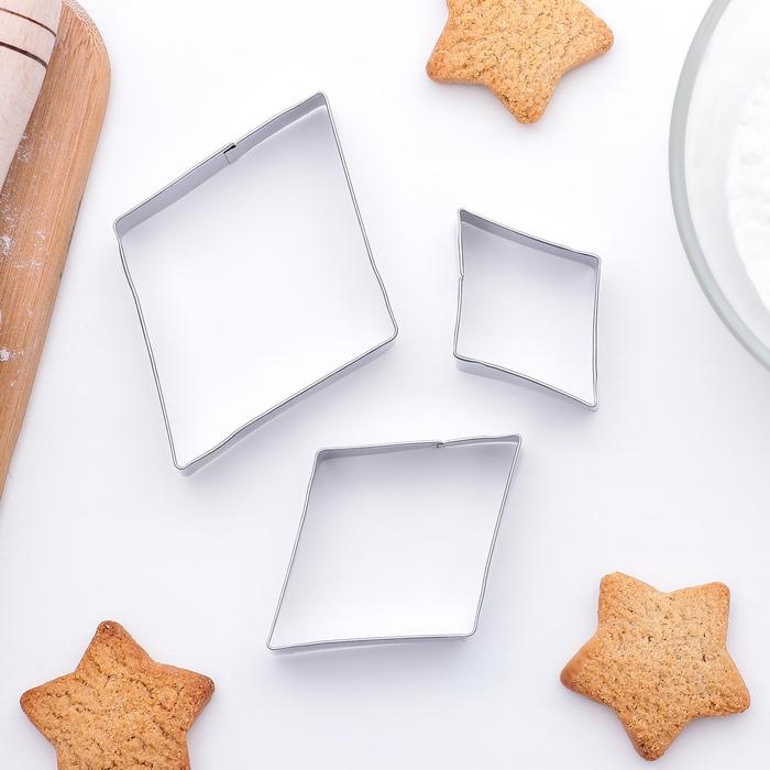 """Набор форм для вырезания печенья """"Ромбы"""", 3 шт - фото 286715179"""