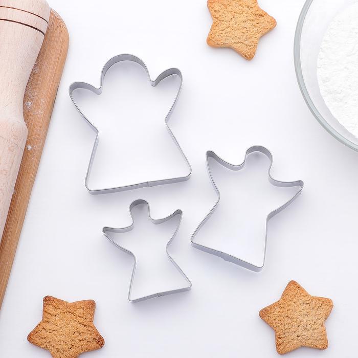 """Набор форм для вырезания печенья 7,5 х 1,5 см """"Ангел"""", 3 шт - фото 278733618"""