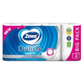 Туалетная бумага Zewa Deluxe, белая, 3 слоя, 8 шт.