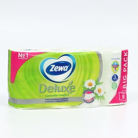 Туалетная бумага Zewa Deluxe Camomile Comfort, 3 слоя, 8 шт.