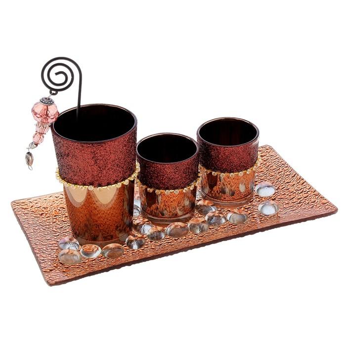 """Подсвечник на 3 свечи """"Шоколадное настроение"""""""