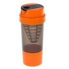 Шейкер 500 мл, с сеточкой-конус, доп. контейнер и крышка оранжевые, чёрный, 10х22 см