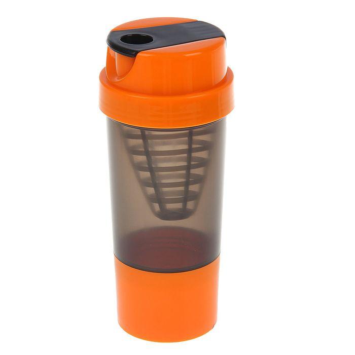 Шейкер с сеточкой-конус, 500 мл, чёрный, крышка оранжевая + дополнительный контейнер, оранжевый
