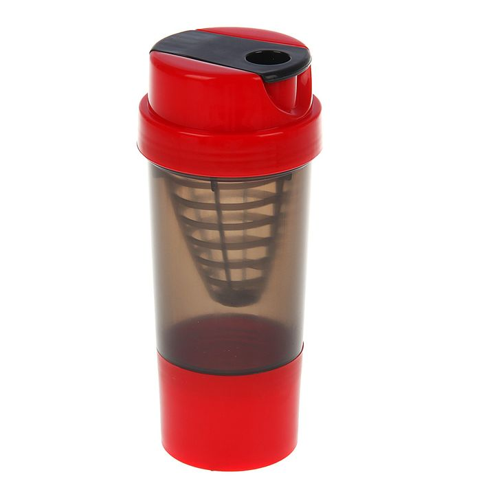 Шейкер с сеточкой-конус, 500 мл, чёрный, крышка красная + дополнительный контейнер, красный