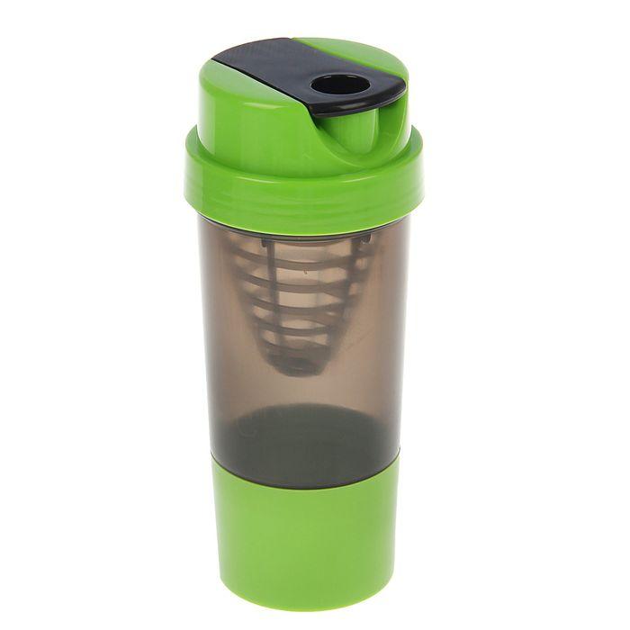 Шейкер с сеточкой-конус, 500 мл, чёрный, крышка зелёная + дополнительный контейнер, зелёный
