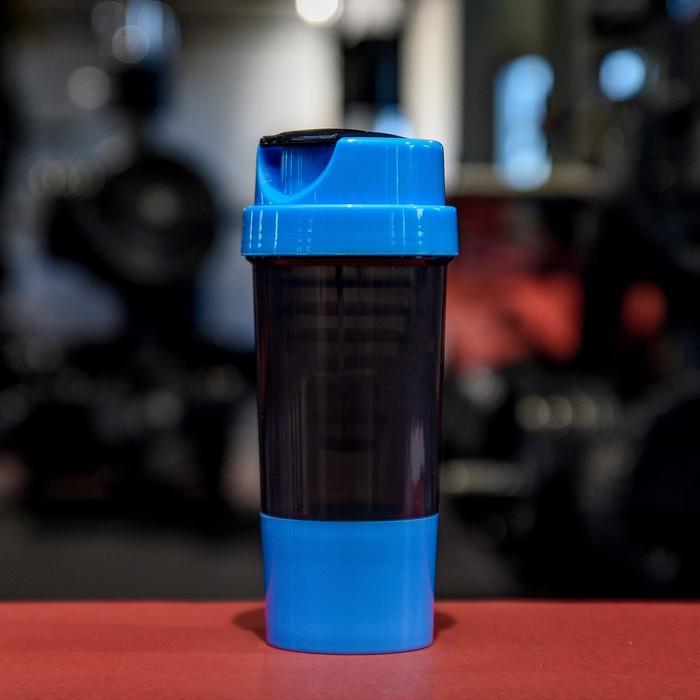 Шейкер с сеточкой-конус, 500 мл, чёрный, крышка голубая + дополнительный контейнер, голубой