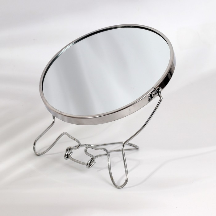 Зеркало складное-подвесное, круглое, d=14,5см, двустороннее, с двукратным увеличением, цвет серебристый