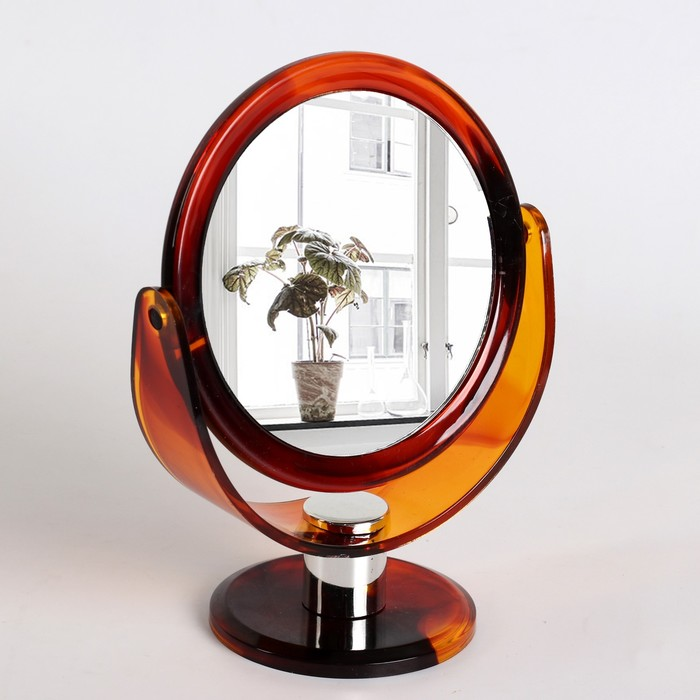 Зеркало на ножке, круглое, двустороннее, с двукратным увеличением, d=13см, цвет янтарный