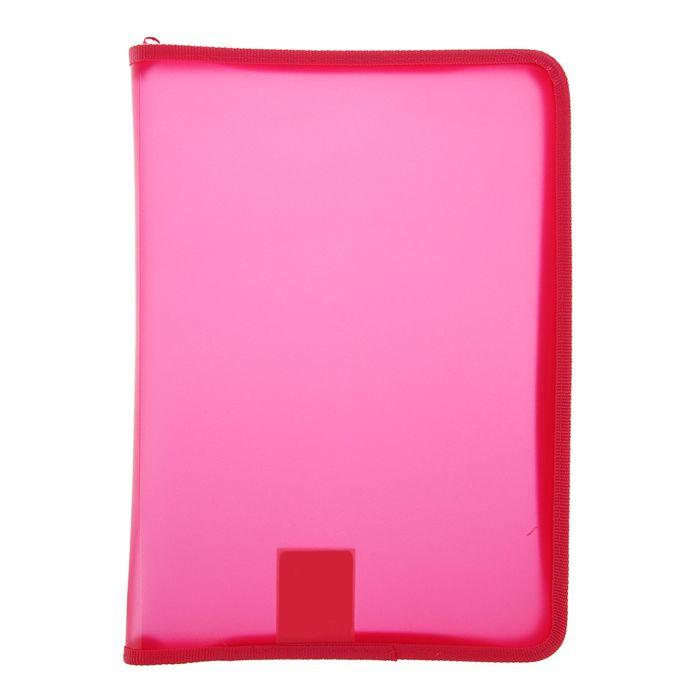 Папка пластиковая А4, молния вокруг, Офис цветная, тонированная, розовая