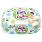 Детские влажные салфетки MERRIES Flushable, пластиковый контейнер, 64шт