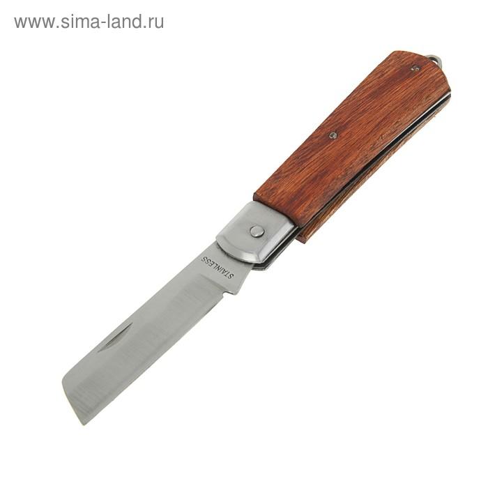Нож электрика FIT Профи, для зачистки изоляции, нержавеющая сталь, ручка дерево