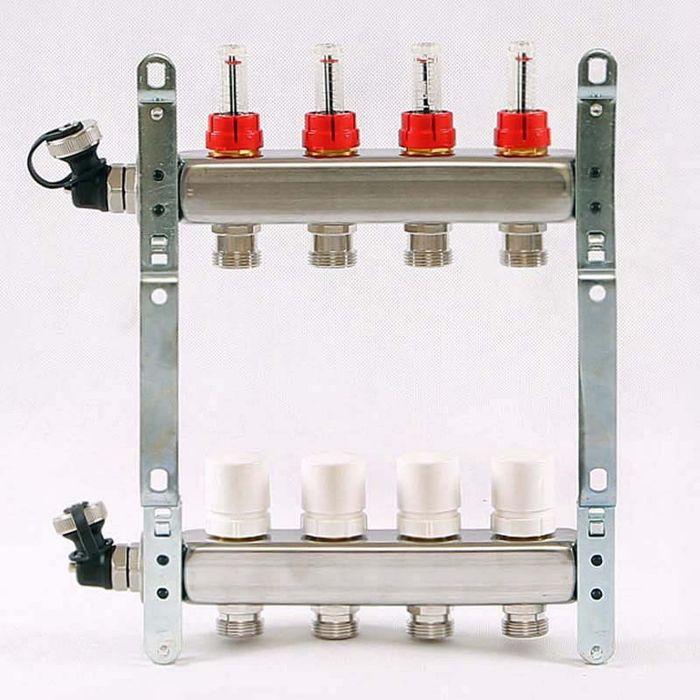 """Коллекторная группа UNI-FITT, 1""""х3/4"""" 4 выхода, расходомеры до 6 л/мин, нержавеющая сталь"""