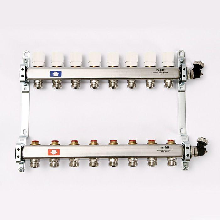 """Коллекторная группа UNI-FITT, 1""""х3/4"""" 8 выходов, с вентилями, нержавеющая сталь - фото 14828"""