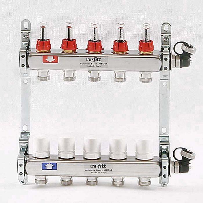 """Коллекторная группа UNI-FITT, 1""""х3/4"""" 5 выходов, расходомеры до 6 л/мин, нержавеющая сталь"""