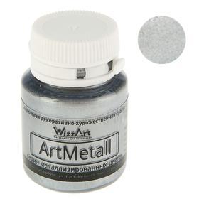 Acrylic Metallic, 20 ml, WizzArt, metallic silver.