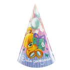 Бумажный колпак «С Днём Рождения», мишка с подарком, набор 6 шт.
