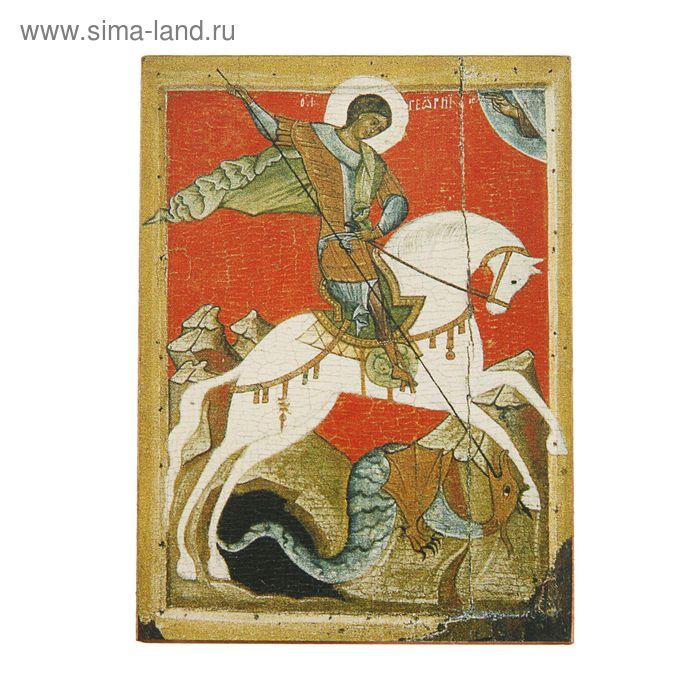 Икона освящённая Георгий Победоносец (на коне красный фон) 70х90