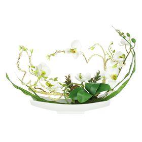 """Декоративные цветы """"Орхидея белая"""" на керамической подставке, 38х14х31 см"""
