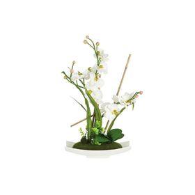 """Декоративные цветы """"Орхидея белая"""" на керамическое подставке, 34,5х13х56 см"""