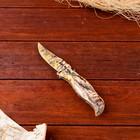 Нож перочинный лезвие clip-point 7,5см, рукоять птица хаки (фиксатор, кнопка) 17см МИКС
