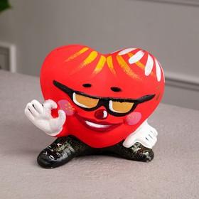 """Копилка """"Сердце в очках"""", глянец, красный цвет, 15 см"""