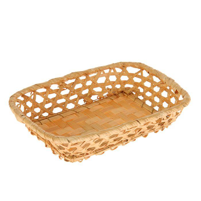 Фруктовница, редкое плетение, 24×18×5 см, бамбук