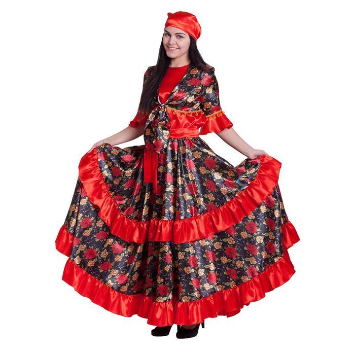 """Карнавальный костюм """"Цыганка"""", блузка, юбка, пояс, платок, парик, цвет красный, р-р 44-46, рост 164-170 см"""